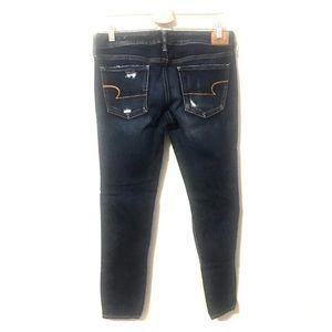 AEO distressed dark wash super stretch skinny jean